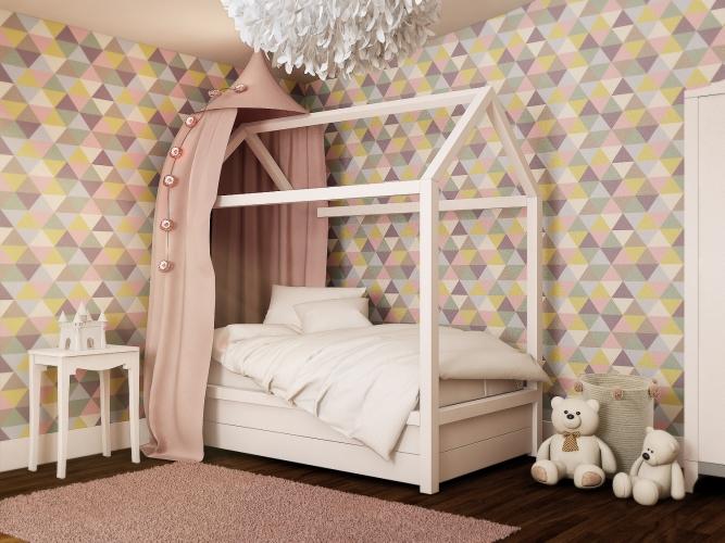 Girls bedroom ideas_triangular geometric wall paper_multicoloured girls bedroom_MK Kids Interiors