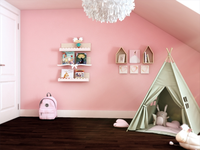 Hannahs pink bedroom Tent and gallery wall_MK Kids Interiors_girls bedroom ideas