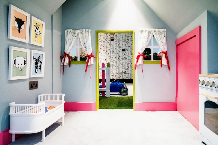 Wendy house interior_duckegg blue-pink-lime green _safari animal print wall art_MK Kids Interiors