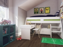Superhero-themed-boys-bedroom_green-blue-and-grey-boys-bedroom_mid-sleeper-bed-MK-Kids-Interiors