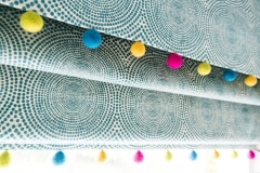 Colourful kids curtains_Blue roman blinds for kids_pompom trim_felt ball trimming