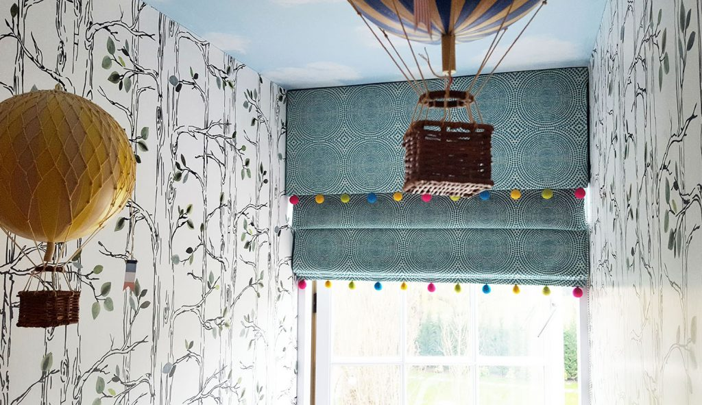 Blue gender neutral roman blinds for kids