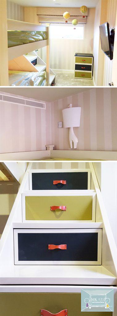 Kids bunk bed with step Drawers_Leather Furniture_Childrens Interior Designer London_Kids Interior Designer London_MK Kids Interiors_Pinterest