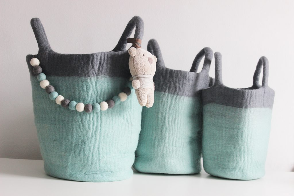 Soft Felt Storage Baskets Mk Kids Interiors