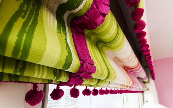 colourful roman blinds- striped curtains