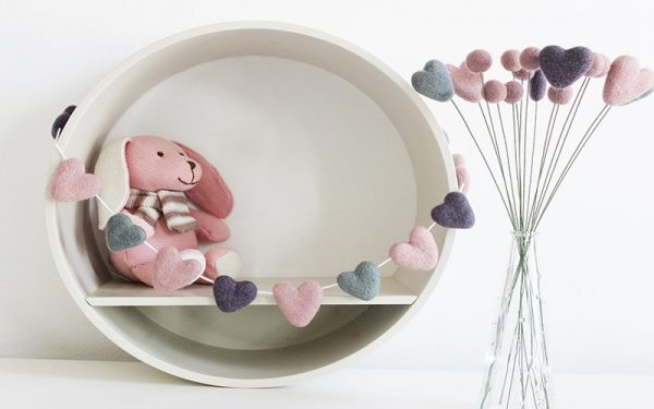Dusky Pink and Grey Felt Heart Garland