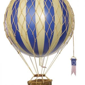 blue and ivory striped hot air balloon hanging mobile with rattan basket