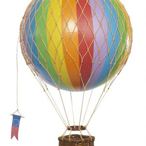 rainbow coloured striped hot air balloon hanging mobile