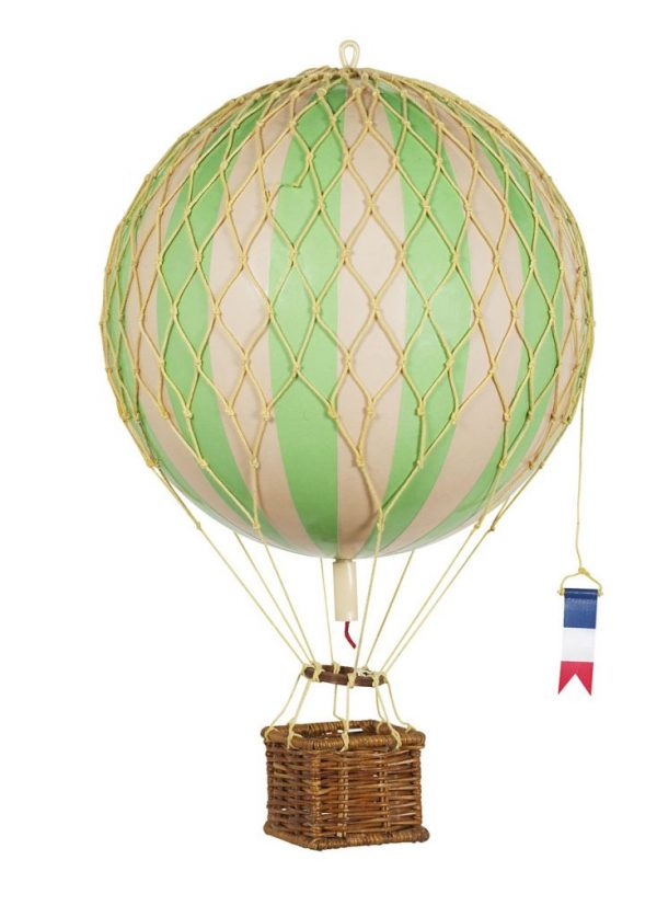 Green and ivory striped hot air balloon mobile with a dark brown rattan basket