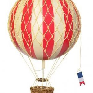 Red and cream striped hot air balloon with a rattan basket