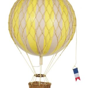 yellow and ivory striped hot air balloon model with a brown rattan basket and a blue yellow and red flag flag