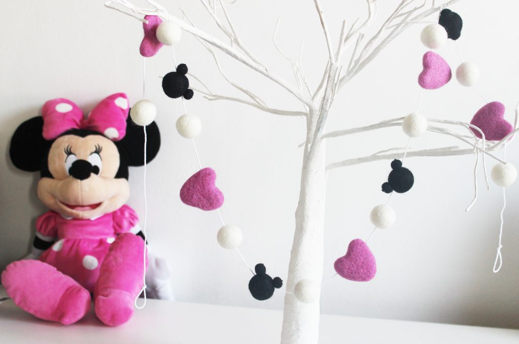 Minnie Mouse Pom Pom Garland Pink Black Amp White Felt Ball Garland Felt Heart Garland Mk Kids