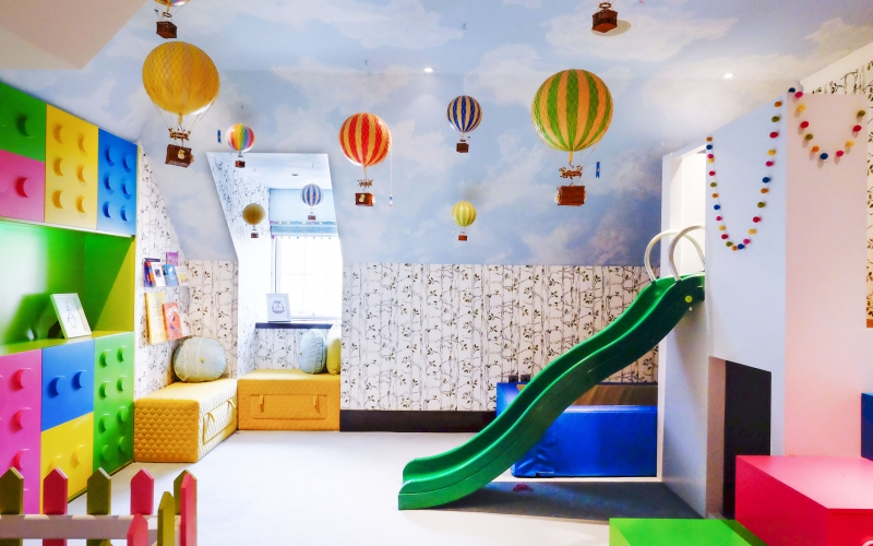 Unisex playroom_london playroom designer_lego themed playroom_lego playroom_hotair balloons uk_kids interiors london_childrens rooms