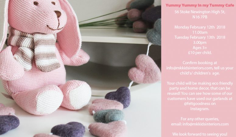 Valentines Garland making party_pom-pom garland_family workshop_halfterm activities_Yummy Yummy in my Tummy Kids Cafe-MK Kids Interiors