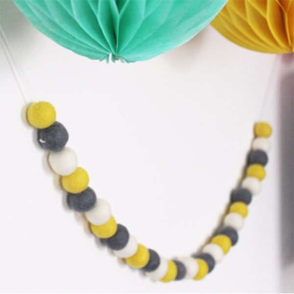 yellow, grey and white felt ball garland,