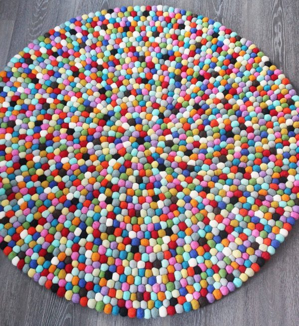 Multi Coloured Round Felt Ball Rug Mk