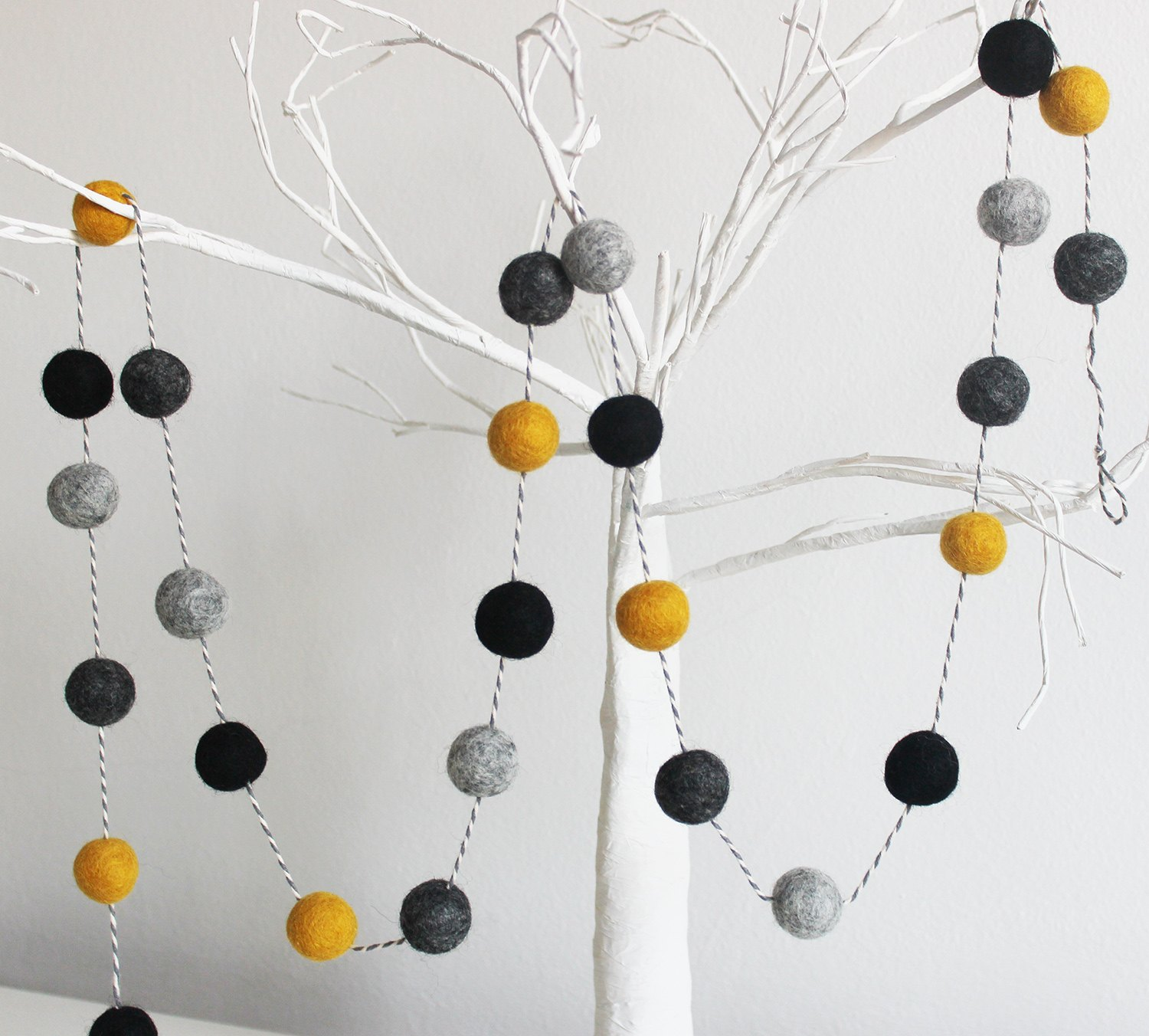 Mustard yellow black and grey pom pom garland Boys bedroom decor