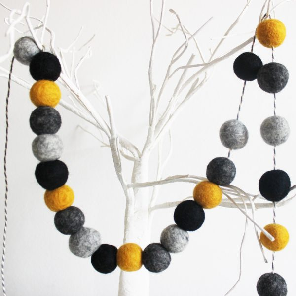 Yellow, black and grey pom-pom garland