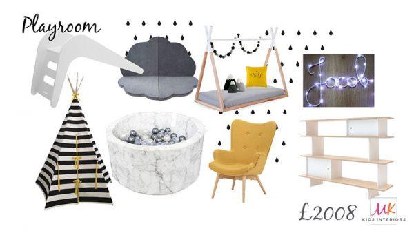 Monochrome Playroom_Making Monchrome-yellow room-childrens interiors-mk kids interiors