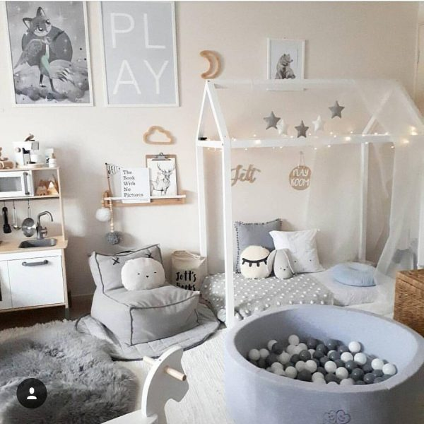 Meow ball pit in a scandinavian toddler bedroom