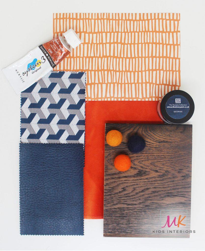 MK Kids Interiors sample board boys bedroom colour scheme