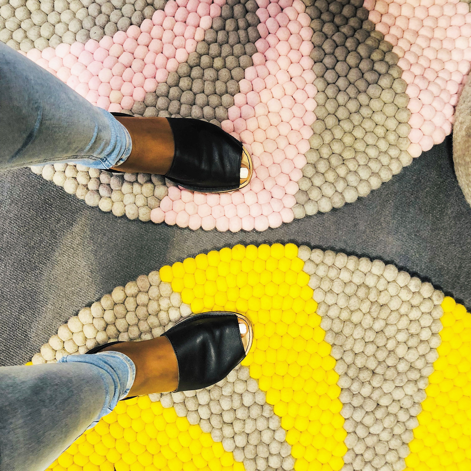 Candy Pop Felt Ball Rug Mustard And Grey Mk Kids Interiors