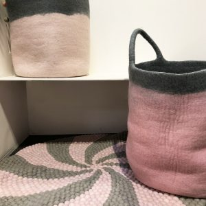 Pink and grey felt ball rug
