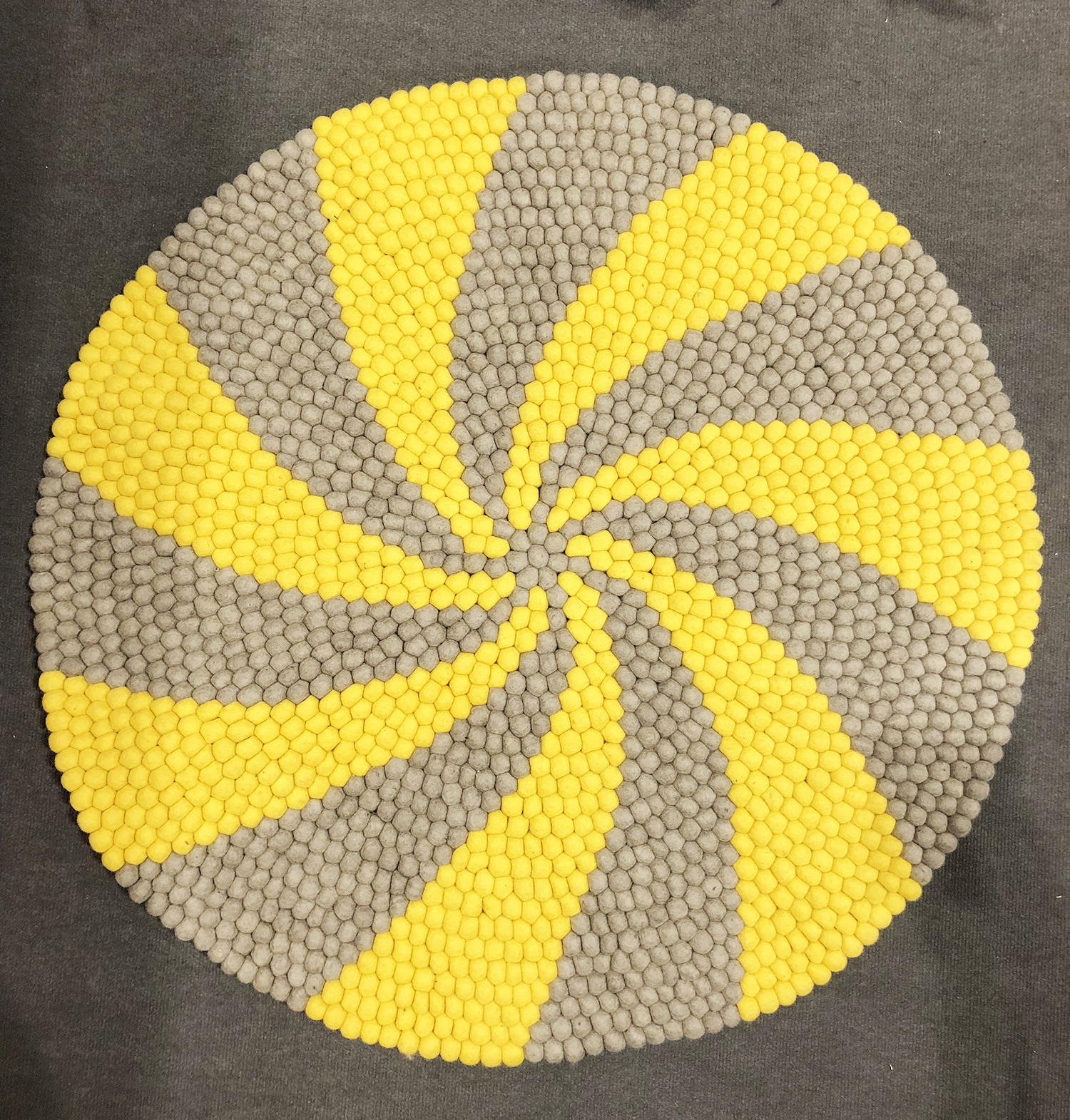 Candy Pop grey and yellow felt ball rug