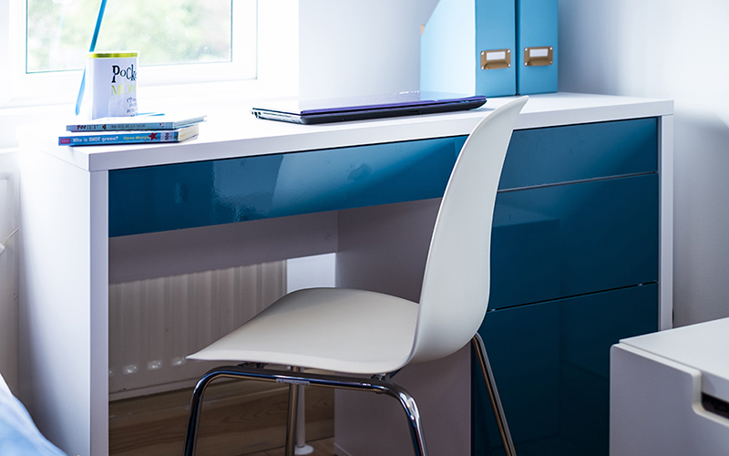 Blue Room_interior design for autistic children_Petrol Blue Desk_Teens bedroom_Childrens interior designer London_MK Kids Interiors