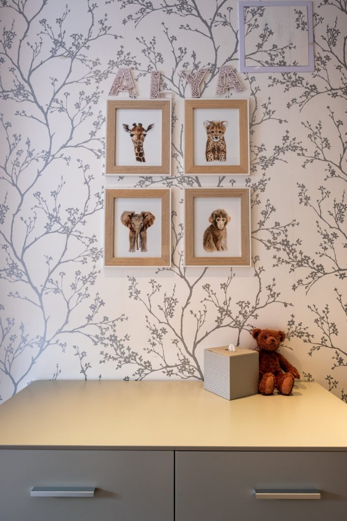 Cherry blossom wallpaper – safari animal prints-MK Kids Interiors
