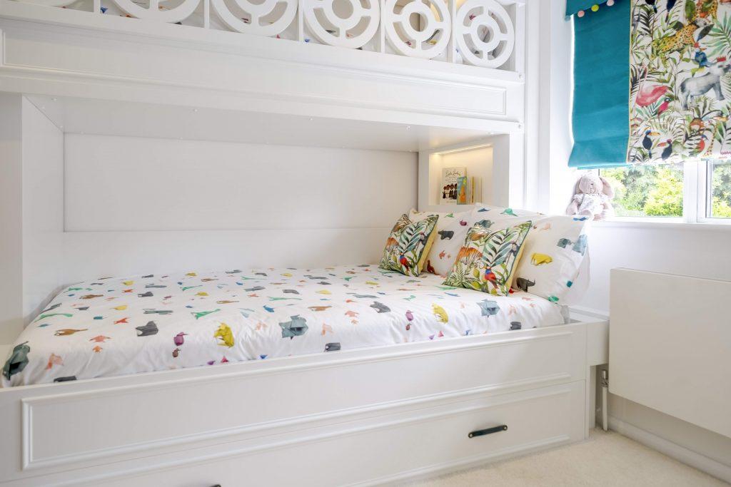 Childrens bedroom- bespoke triple bunk bed-kids interiors- jungle themed roman blinds-dubai kids interior designer-MK Kids Interiors