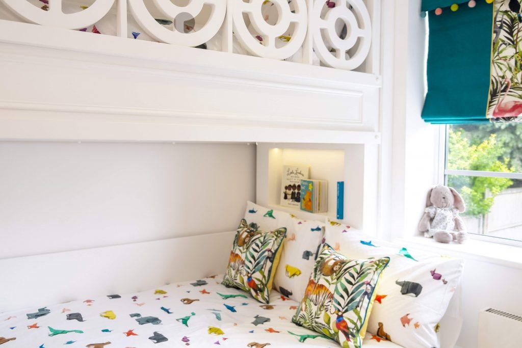 Childrens bedroom- bespoke triple bunk bed-kids interiors- jungle themed roman blinds-dubai kids interior designer-MK Kids Interiors-close up