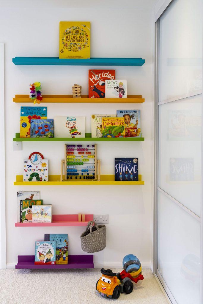 Childrens bedroom- multicoloured booked ledges-ikea hack-dubai kids interior designer-MK Kids Interiors