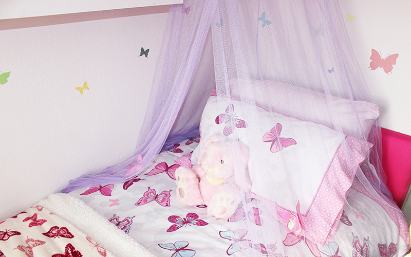 Childrens interior designer London_Kaitlyns Bedroom_girls bedroom design_small room design_box room design_purple room with butterflies_MK kids Interiors