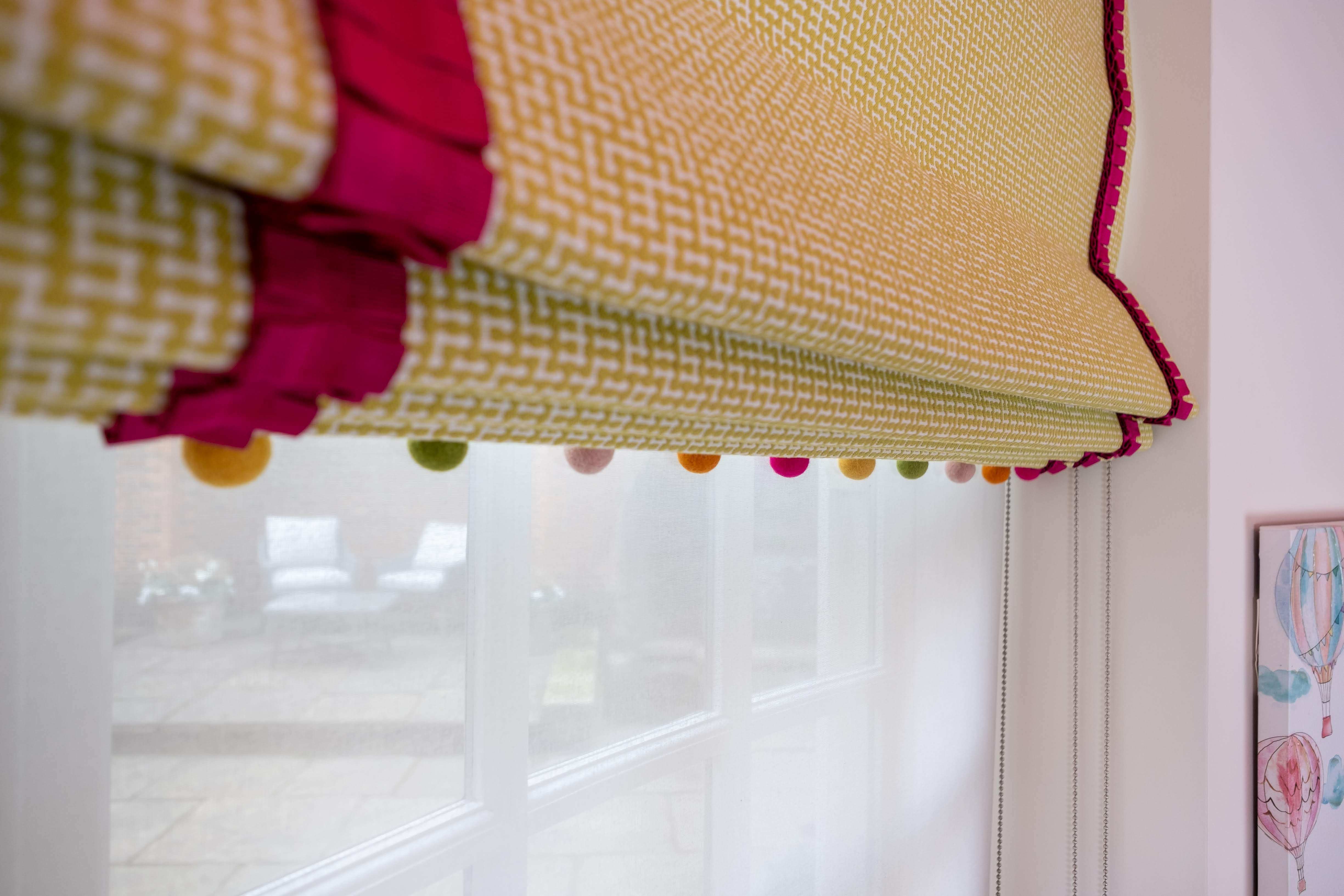 Kids Roman blinds with pom pom trim