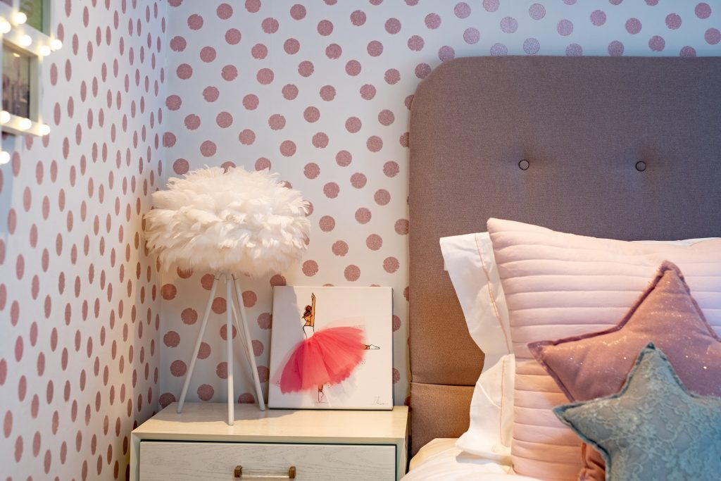 Girls bedside table details-feather lamp-ballerina art