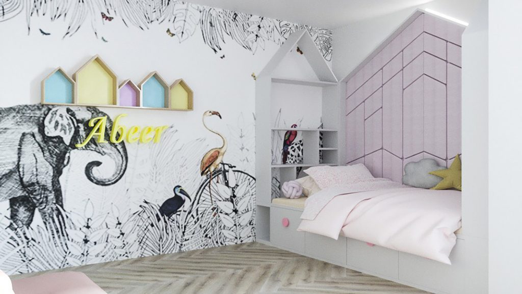 Girls House bed and storage design_childrens bedroom design_MK Kids Interiors