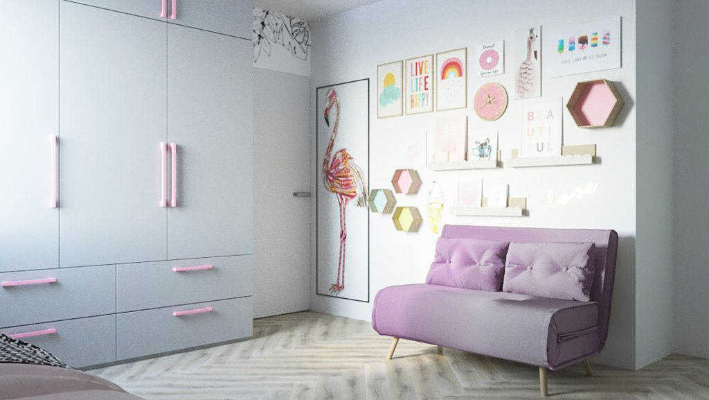 Girls bedroom- gallery wall- MK Kids Interiors
