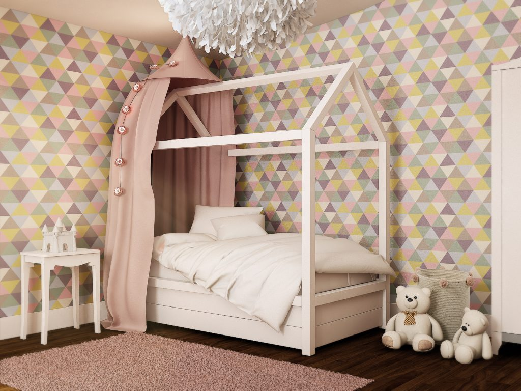 Girls bedroom ideas_triangular geometric wall paper_multicoloured girls bedroom_MK Kids Interiors