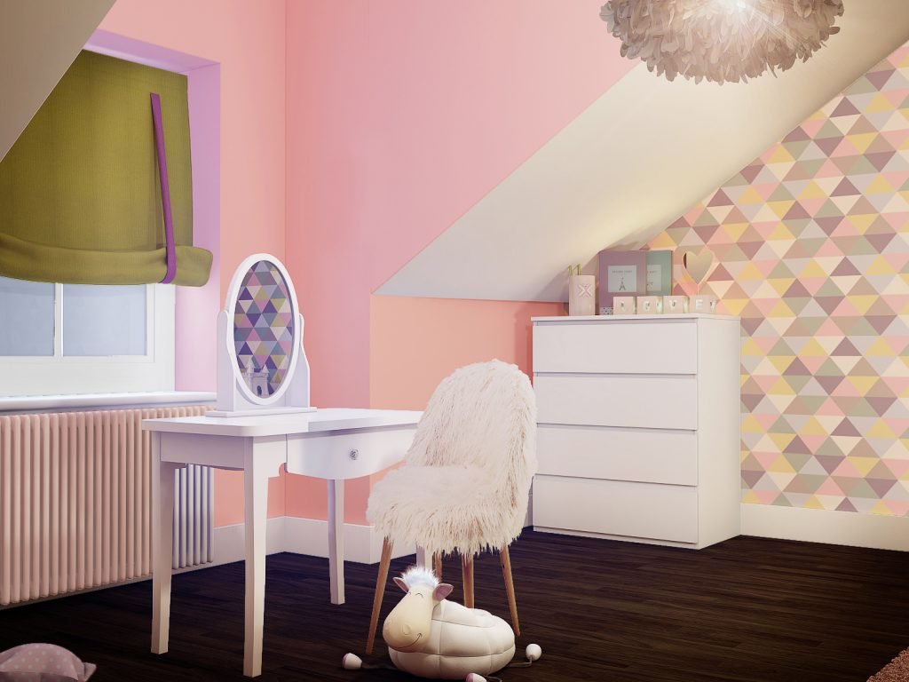 Girls bedroom ideas_triangular geometric wall paper_multicoloured girls bedroom_MK Kids Interiors_Hannahs pink bedroom_roman blinds_window treatment