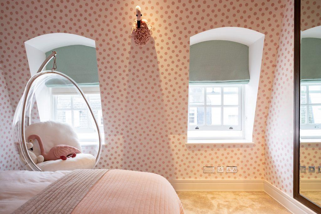 Lipari Turquoise 04890 Roman Blind-Brian Yates Rice 359060 pink dotted wallpaper-Girls Bedroom Blind-MK Kids Interiors