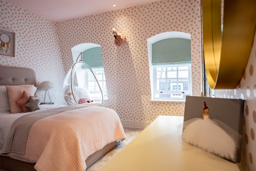 Mayfair-MK Kids Interiors-Girls bedroom design- pink and white girls bedroom ideas-shenasi concept ballerina art- swing chair-girls bedroom-kids interiors