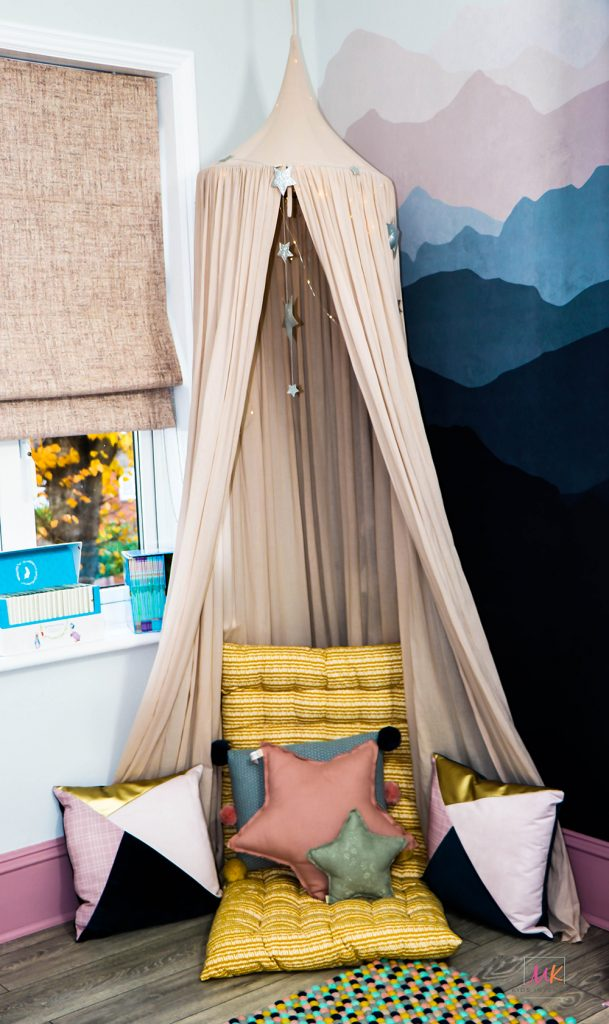 Share bedroom-whimsical reading nook designed by MK Kids Interiors