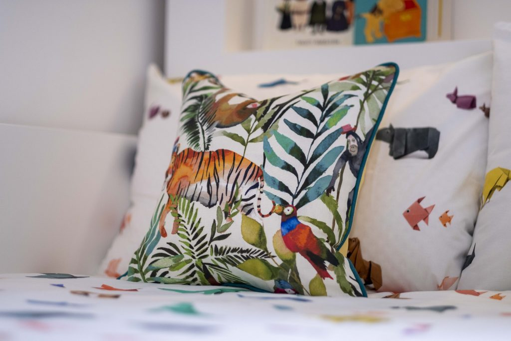 Origami animal bedding by Snurk-Jungle themed pillow-MK Kids interiors kids bedding- international childrens interior designer