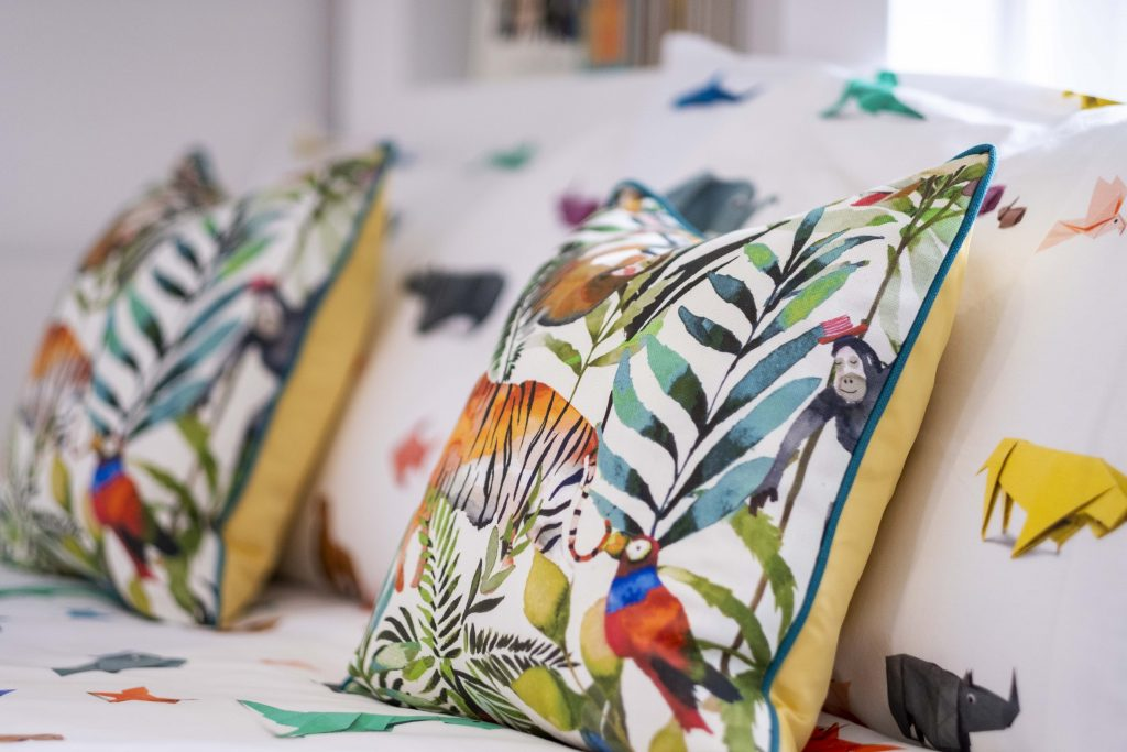 Origami animal bedding by Snurk-Jungle themed pillows-MK Kids interiors kids bedding- international kids interior designer