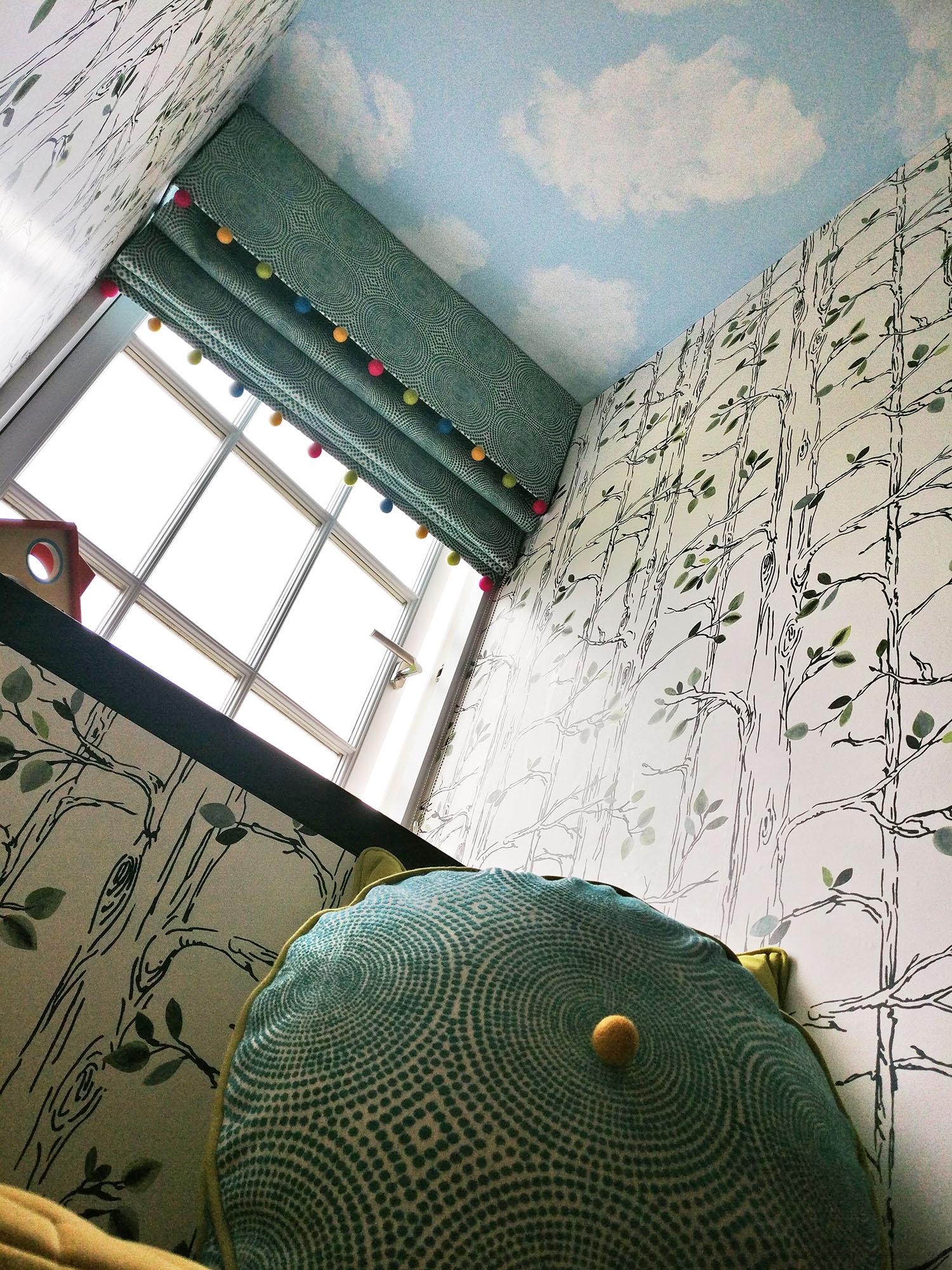 Sky Mural and Pompom blinds