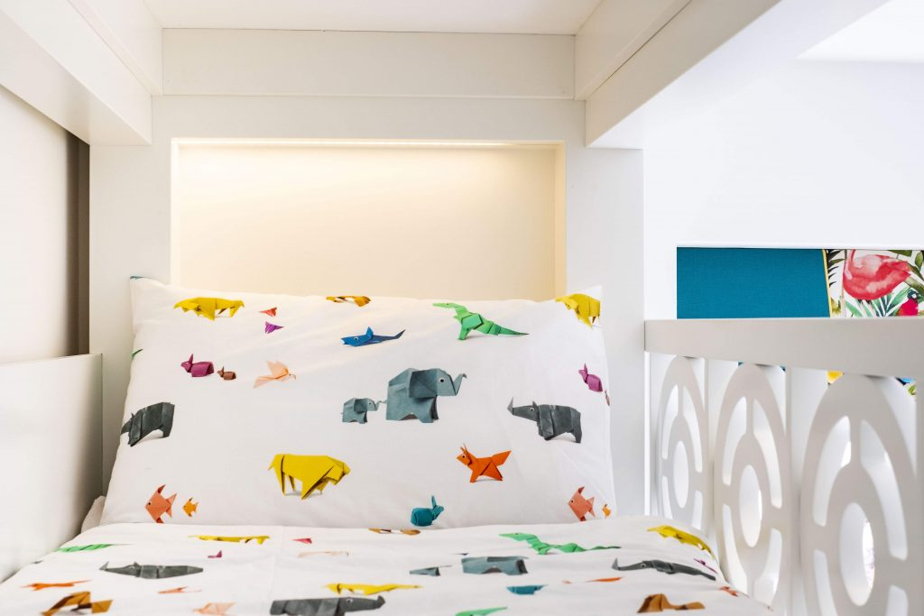 Shared kids bedroom- bespoke triple bunk bed-kids interiors-origami animal bedding-middle eastern kids interior designer-MK Kids Interiors