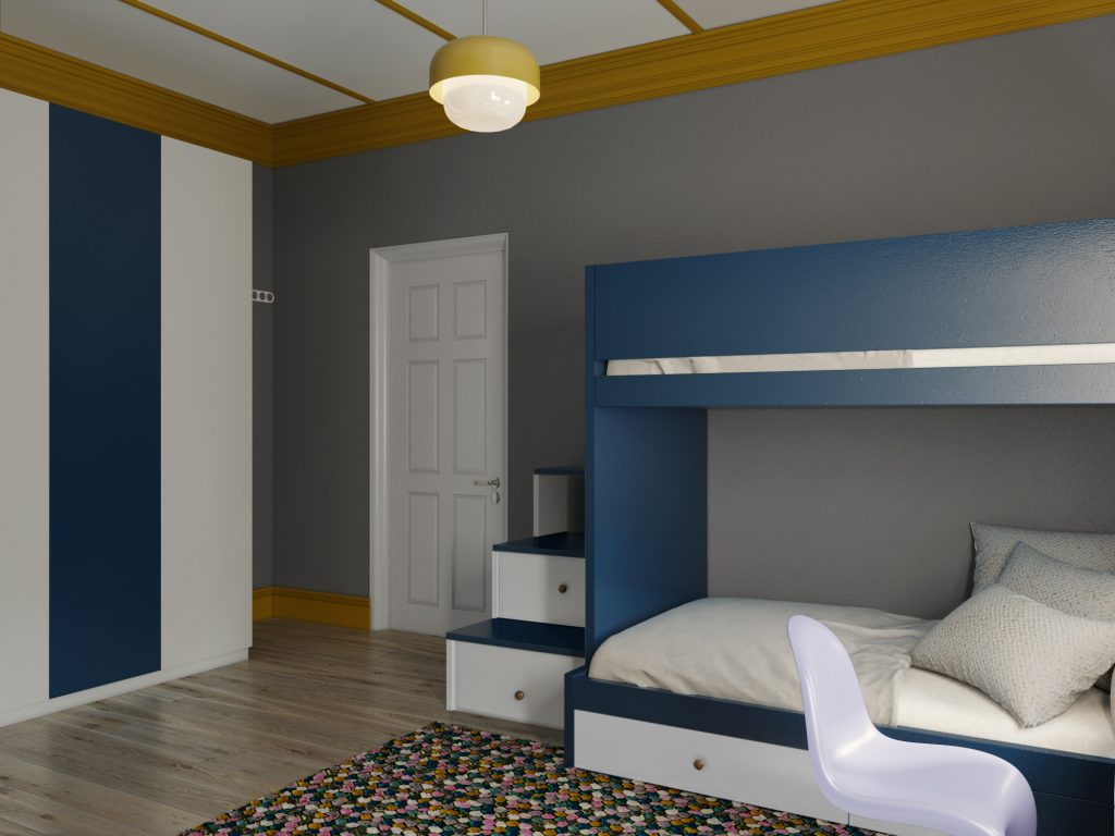Mustard and Blue Boys bedroom ideas