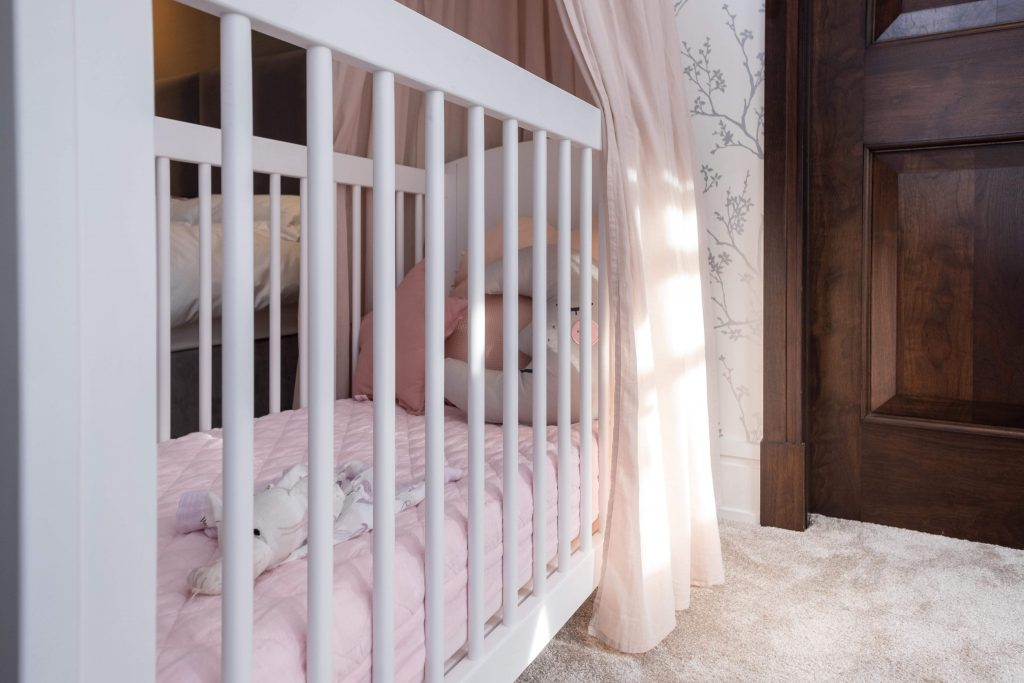 baby girls nursery-cot detail-MK Kids Interiors