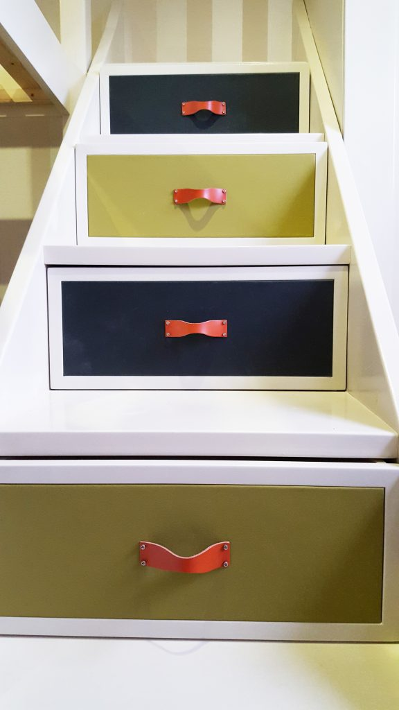 bespoke handmade step drawer with leather front and leater drawer pulls